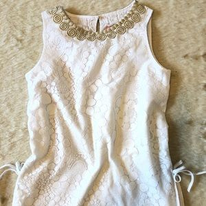 Lilly Pulitzer Top 12 Mini Donna White Lace Gold